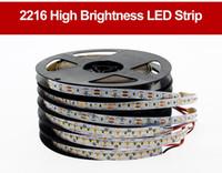 100 м / лота высокая концевая светодиодная полоса 2216 12V 120LEDS / м 9,6 Вт / м 24V 300LEDS / м 24 Вт / м 3000k 4000k 6000k яркость световых полос