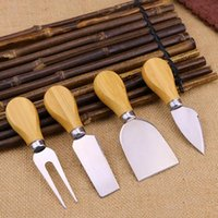 4pcs Tools de fromage Ensemble de kit de poignée de chêne Kit de pelle à fourche pour couper les fromages à pâtisserie Ensembles de la carte de beurre Pizza Slicer Cutter LLF8616