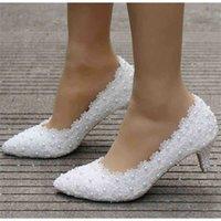 Crystal Queen White White Wedding Shoes 5cm épais Chaton Talon Pompes Princess Party Anniversaire Talons 210610