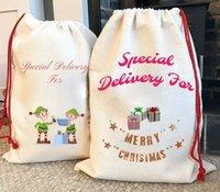 Sublimation Blank Santa Sacks DIY Personlized Drawstring Bag Christmas Gift Bags Pocket Heat Transfer