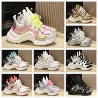 2021 Fashion Casual Dad Shoes Block Arclight Genuine Pelle Sneakers Mesh Black Traspirante Bow Mens Donna Platform Platform Popolare All-Match Popular Stylis 35-40