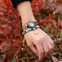 clover watch and lovely wind lucky Sweet grass Beaded girl cowhide Bracelet student jewelry