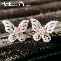 2021 لامعة بيضاء الوردي كريستال تشيكوسلوفاكيا لطيف فراشة 925 فضة أقراط للنساء مجوهرات الحشرات هدية