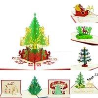 크리스마스 인사말 카드 3D 수제 팝업 인사말 카드 3D 수제 크리스마스 선물 편지지 카드 빈티지 레트로 피어싱 게시물 HWD10283