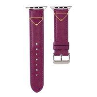 Mode-Designer-Armband-Riemenband für Apple-Uhr-Band 38mm 42mm 40mm 44mm iWatch 5 4 3 2 Bands Luxus-PU-Leder-Riemen-Armband-Buchstabe gedrucktes Uhrenband