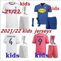 Enfants 2021/2022 Football Real Madrid Soccer Jersey 2021 Camiseta de futbol Hazard Benzema ISCO Kits de chevalette Modrique