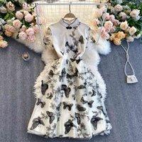 ORGRETER Abito estivo di alta qualità per le donne 3D farfalla ricamo cheongsam colletto maglia 210602