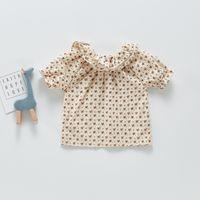 ZHBB INS Korean Australia Baby Kids Girls Floral Shirts Double Turn-down Quality Little Princess Blouses Children Tops