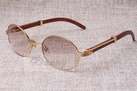 2021 lunettes de soleil rondes cornes de bétail lunettes 7550178 Wood Hommes et femmes Sunglasses Lunettes de soleil Glasess Lunettes Taille: 55-22-135mm