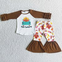 Fashion Kids Designer Clothes Girl Sets Thanksgiving Day Toddler Baby Girls Boutique Clothing Bell Bottom Pants Turkey Wholesale Kid Children Outfits Milk Silk