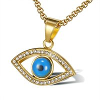 Stainless Steel The Eye Of Horus Pendant Necklace Ancient Egypt Blue Hip Hop Stone Eyes Jewelry For Women Men Chains