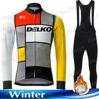 레이싱 세트 2021 팀 Delko 사이클링 저지 세트 레트로 겨울 의류 남성 도로 자전거 셔츠 정장 열 재킷 MTB Maillot Cyclisme