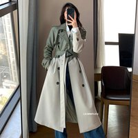 Autumn Spring Elegant Pu Leather Trench Coat Women Bouble- br...