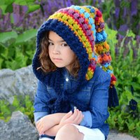 F-4958 new 2021 christmas funny knitted rainbow beanie hat with long tail custom winter ponytail hats for wholesale