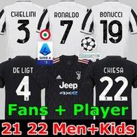 팬 Sversion 축구 유저 2021 2022 Ronaldo Dybala Morata Chiesa McKennie Juventus 축구 키트 셔츠 21 22 Juve Men + Kids 4 번째 4