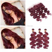 Brasilianische 99J Human Hair Bündel mit Spitze Frontal Clock 9A Wein Rote Körperwelle Human Haare Webart Burgund 3bundles mit 13 * 4 Full-Frontals