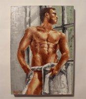 팔레트 나이프 누드 남자 유화 홈 벽 장식 고품질 Handpainted 또는 HD 인쇄 아트 캔버스 그림, F210410
