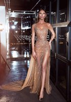 Sexy Sheer Tulle Formal Dresses Evening Gown Zuhair Murad Elegant Long Full Beading Split Size Special Occasion