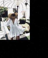 Branco Manga Longa Doce Doce Das Mulheres Vestidos Ruffles Bikini Cobrir Swimwear Verão Praia Solta Blusa Camisa Vestido