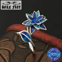 Стерлинговое серебро Cloisnne эмаль цветочные кольца мода пара влюбленные кольца для женщин ювелирные изделия Anillos Mujer 2021