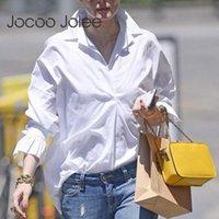 Jocoo jolee Женщины Весна Длинные Рукава Блузки и Топы Повседневная Сплошная Флайевая Рубашка Негабаритная Офисная дама