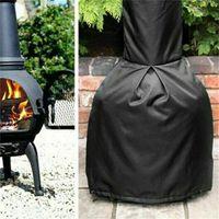 190t preto chiminea capa impermeável chaminé protetora fogo fita capa aquecedor à prova de intempéries para varanda jardim ao ar livre122 * 21 * 61cm 1156 v2
