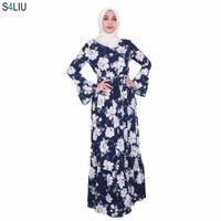 Musulman Musulman Abaya Imprimer Robe florale Femmes Cardigan Robe longue Dubai Jubah Ramadan Thobe Culte islamique Vêtements de prière N4N2 #