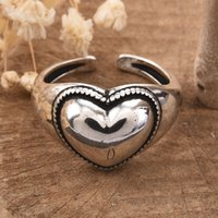 Vintage Heart Solitaire Chain Ring with Geometry Shape Goth Cubic Zirconia Prong Setting Wedding Gift Fine Rings for Women Girls