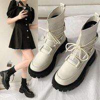 2021 new autumn and winter Korean Martin boots women's single thick soled short socks shoes elastic thin