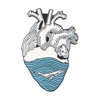 Emaye Kalp Broş Pins Broşlar Emaye Yaka Pins İnsan Organ Kalp Pimleri Moda Takı Hediye 579 T2