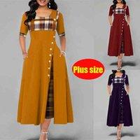 New Summer Women Dress Big Size Fashion Streetwear Middle Sleeve Irregular Dress Lattice Pattern Patchwork Pullover Dresses