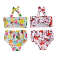 Clothing Sets 0-4Years Infant Kids Baby Girl Swimwear Summer Printed Print Bikini Bowknot Halte Crop Tops+Swimming Shorts Beachwear