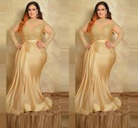 2022 Sexy Plus Size Formal Evening Dresses Elegant With Long Sleeves Gold Lace High Neck Sheath Special Occasion Dress Mother Of The Bride