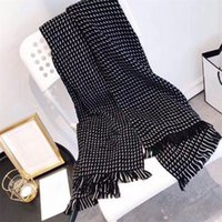 Full letter L pattern women's scarf long fashion style White Black warm scarves in winter and fall Designer tassel Shawl lady girl