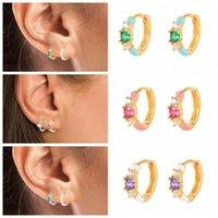 Hoop & Huggie CANNER 925 Sterling Silver Earring With Red Green Purple Zircon Enamel Round Earrings For Women Girl Fine Jewelry Oorbellen