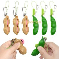 Zappget Toys Dekompression Erdnuss Edamame Spielzeug Antistress Popper Toy Infinite Peanut Erbsen Bohnen Keychain Zappeln Squishy
