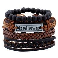Charm Bracelets 4pcs set Vintage Boho Brown Leather Knots Believe Tag Black Beads Layers Stackable Bracelet Bangles Set Unisex Jewelry