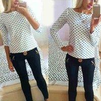 Women Fashion Shirt Round Collar Camisa Dot Chiffon Long-Sleeved Clothes Ladies Tops Blouse Femme Women's Blouses & Shirts
