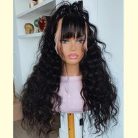 360 Lace Frontal Human Hair Fringe Wig for Black Girls Loose Deep Wave Indian Remy Hairs 13x6Lace Front Wigs with Bangs full lacewigs bleached knots