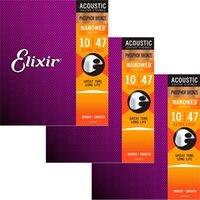 3 مجموعات Elixir Nanoweb طلاء المضادة للصدأ الفوسفور البرونز سلاسل الغيتار الصوتية