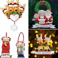 Resin Personalized Deer Family of 2 3 4 5 6 7 And 8 Christmas Tree Ornament 2021 Cute Santa Deers Winter Gift Year Durable Familys Xmas Decorations Set Free
