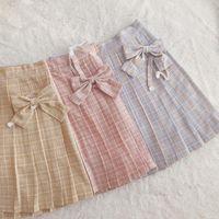 Faldas Cintura alta Rainbow Casual Alaid A-Line Falda Lindo Uniforme Coreano Femenino Kawaii Mujeres Midi Harajuku Arco Plisado