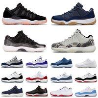 2021 هدية مع صندوق jumpman 11 أحذية كرة السلة 11 ثانية الرجال النساء كونكورد ارتفاع منخفضة الفضاء جام غاما الأزرق كاب و ثوب أحذية رياضية