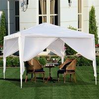 3 × 3 متر الظل العريشة في الهواء الطلق حديقة الخيام أربعة الجانبين المحمولة المنزل استخدام للماء مع أنابيب دوامة خيمة أبيض التخييم المظلات