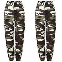 2021 Kadın Camo Kargo Yüksek Bel Hip Hop Moda Pantolon Pantolon Askeri Ordu Savaş Kamuflaj Uzun Kapriler