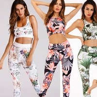 Hirigin Brand Summer Women Tracksuits UK Ladies Girl Floral Sports Gym Running Fitness Leggings Athletic Clothes Bra Pants Set