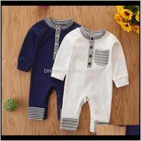 Rompers Boy Clothes Striped Infant Boys Romper Long Sleeve Born Jumpsuits Cotton Children Designer Playsuit Boutique Baby Clothing Udp Tc2Ow