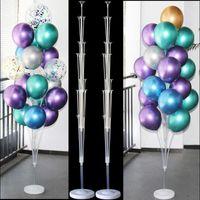2set 160cm Balões de látex suportar balões de festa de aniversário coluna suporte de suporte de casamento decoração de bebê festa de festa de festa globos 210626