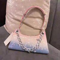 Waist Bags Chain Armpit Bag Fashion Trend Personality Rainbow Gradient Color Frog Handbag Crocodile Pattern Shoulder Women