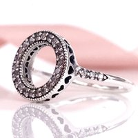 New arrivel Autumn collection S925 Sterling Silve Hearts of PANDORA Halo Ring with cubic zirconia Fit Suit Women Pandora jewelry